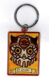 MaryAnn Luera - Fantastic El Diablo Sugar Skull with a Loteria Vibe - Premium High Quality Portachiavi Keychain