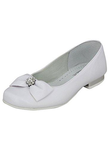 Boutique-Magique Chaussures Ballerines Blanches Mariage Communion en Cuir