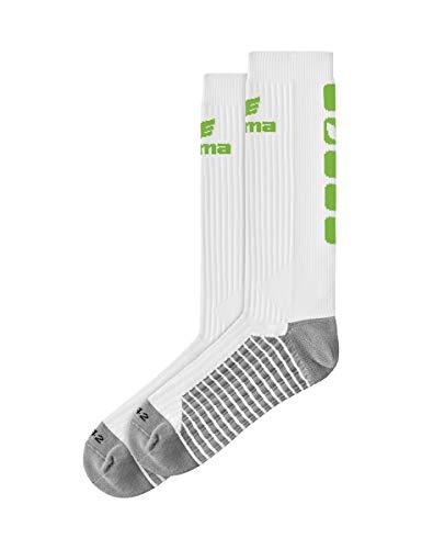 Erima Erwachsene Classic 5-C Socken lang, weiß/Green, 39-42