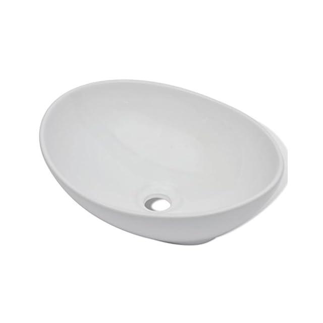 vidaXL Lavabo en Forme Ovale Céramique 40x33 cm Blanc Lave-Mains Vasque ... c4f901b06ddc