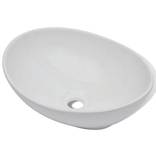 vidaXL Luxueuse Vasque à poser en cÃramique Ovale Blanche 40 x 33 cm