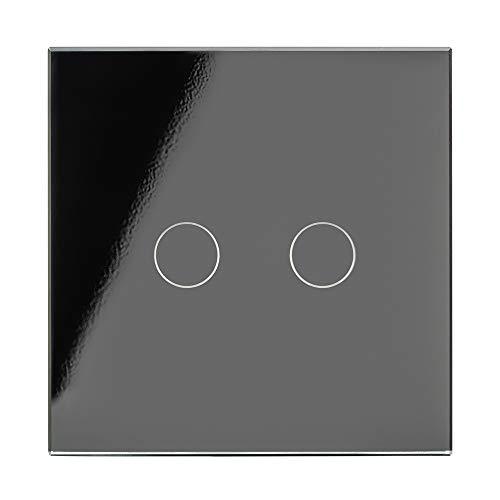 Retrotouch W Zwischenschaltung, kabellos, 1 Fach, 2 Wege, mit Fernbedienung, Glas, Schwarz