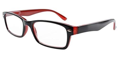 Kunststoff Fassung Lesebrille mit Federscharniere in Schwarz-Rot mit Brillenetui +0.50