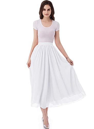 Laorchid Damen Elastische Taille Maxi Langer Sommerrock Plissee Rock White XL Weiße Kleid Rock