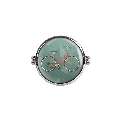 Mylery Ring mit Motiv Damen-Rad City-Rad Stadt-Rad Rot silber 16mm