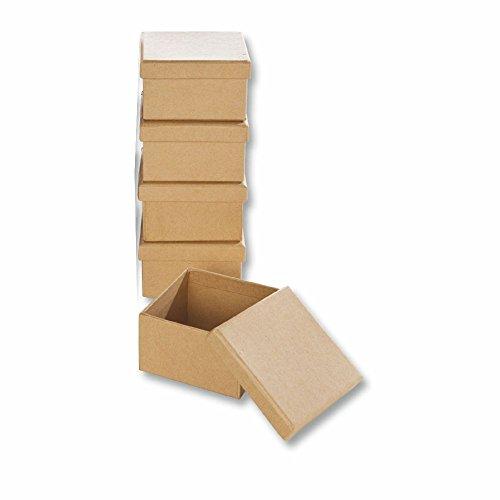 Papp-Boxen 5 Stück ECKIG 7,5x7,5x4,5cm Bastelboxen mit Deckel
