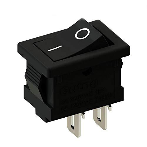 Aisoway Boot Rocker Push Button Switch SPST 2Pin 3A 250V Snap-In EIN-Aus-Schalter Schwarz -