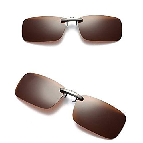 Likecrazy Sonnenbrille Aufsatz 2-Stück Clip on Polarisiert Sonnenbrille für Frauen und Männer Unisex Brillenträger Sonnenbrille Flip up Sonnenbrille Clip Gegen Licht Abnehmbare Nachtsichtlinse