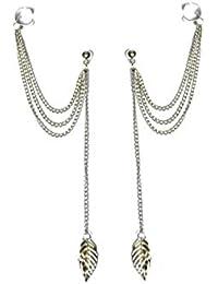 Glitz Celebrity Fashion Punk Rock Ear Clip Tassel Chain Leaf Dangle Cuff Charm Earrings For Women