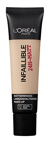 L'Oréal Paris Make Up Infaillible Matt, 12 Natural Rose - Liquid Foundation mit sensationellem Matt-Effekt - 24h Halt & maximalem Tragekomfort, 1er Pack (1 x 35 ml)