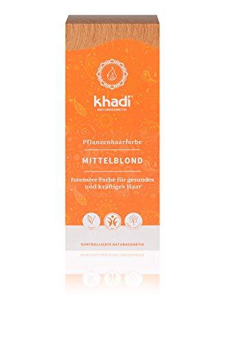 khadi Pflanzenhaarfarbe Mittelblond 100g I Naturhaarfarbe für mittleres und goldenens Blond I 100% natürlich und vegan -