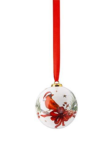 Hutschenreuther Cozy Winter Porzellankugel klein Kardinal mit Zweig Durchmesser 6 cm Rot/Grün