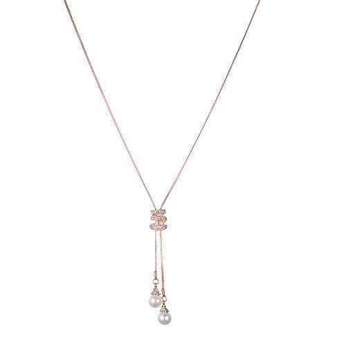 DAY.LIN Colliers Femmes Pendentif Charme Cristal Perles Long Collier de Luxe Chandail Manteau Accessoires Saint Valentin Cadeau Pas Cher Bijoux, Liquidation(Or rouge)
