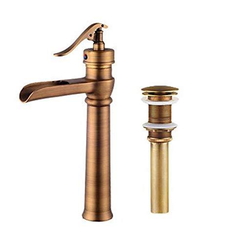 XSRKHome Neoklassisches Centerset Wasserfall mit Keramikventil Einhand-Einloch für Öl-Bronze, Waschbecken Wasserhahn -