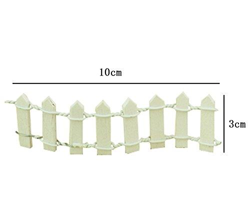 Milopon Mini Fence Wooden Miniature Craft Fairy Garden Ornament DIY Dollhouse Decoration 10x3cm