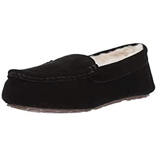 Amazon Essentials AMZ18-040 Damen Leder Moccasin Slipper, Schwarz(Black), 42 EU (9 UK)