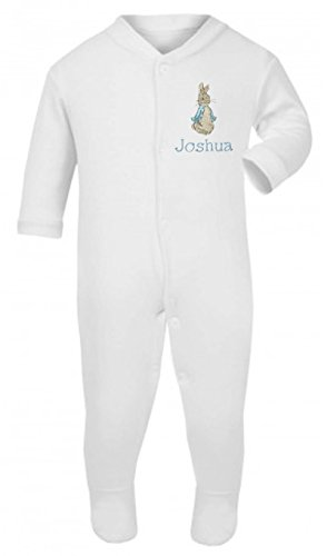 Boys Personalised Peter The Rabbit Baby grow/Sleepsuit - Now available in Five Sizes