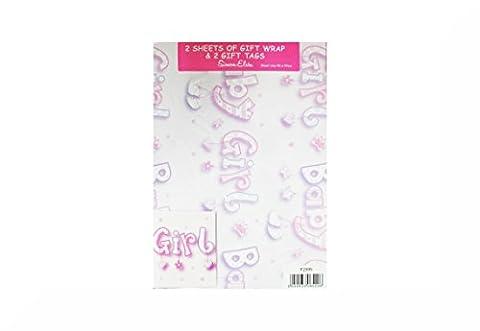 2x 2Stück Geschenkpapier und Geschenkanhänger–insgesamt 4Blatt Geschenkpapier und 4Anhänger + ein inspirierender Magnet Baby Girl