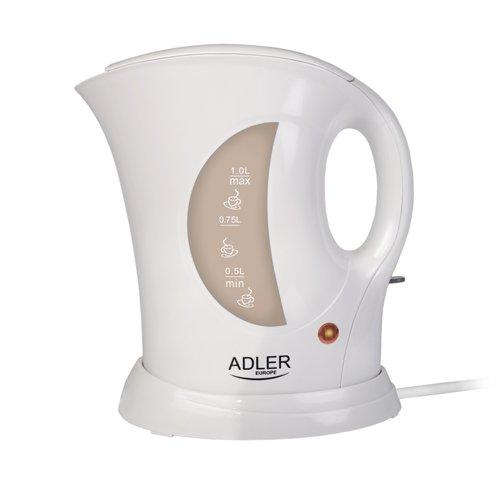adler AD 03 Hervidor de Agua, 900 W, 1 Liter, 0 Decibeles, Plástico, Blanco/Gris