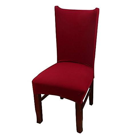 Kate et Kimi Couleur unie en tricot Spandex Chaise de salle à manger Housses Tissu élastique Housse de chaise 1pc bordeaux