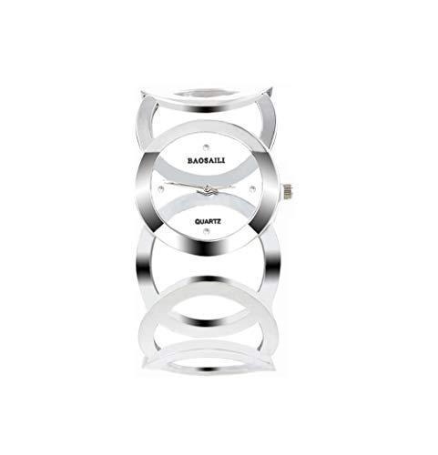 Souarts Damen Silber Farbe Edelstahl Armbanduhr Strass Quartzuhr Analog mit Batterie (Weiss//Silber) -