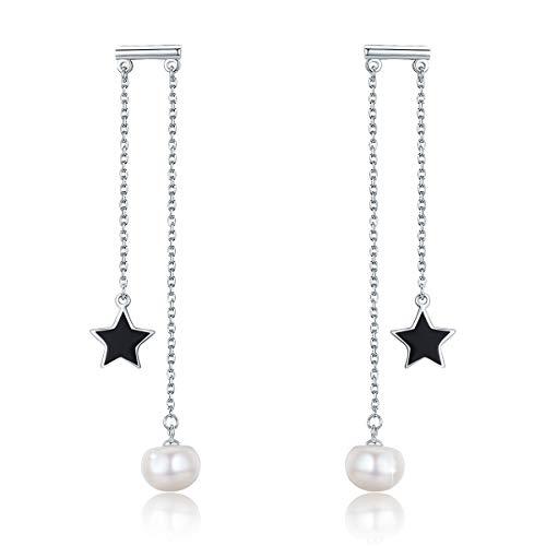 PEARLOVE Schwarzer Stern Perle Ohrringe 925 Sterling Silber Quasten lange baumeln Ohrring Süßwasser Perlen Schmuck hypoallergen Geschenk für Sie
