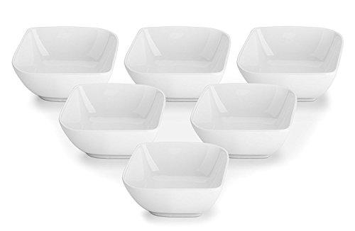 Dowan Porcelain ramekin- set di 6, bianco, stile quadrato