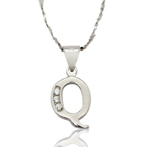 """2 pezzi: SET in argento Sterling 925 a forma di spirale, Ø 17,7 cm, motivo: Serpentina, con varietà di cristallo di rocca, catenina con ciondolo a forma di lettera """"Q &, garanzia a vita"""