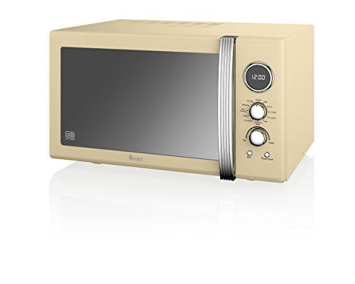 Swan Products SM22080CN Retro Digital Combi Microwave with Grill, 25 Litre, Cream