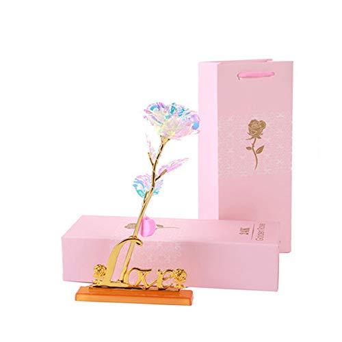 QYHSS 24k Gold Rose Handgefertigt Konservierte Rose, mit Geschenkbox, für Frau Freundin Oma, Muttertag, Geburtstag, Hochzeitstag, Weihnachten, Jahrestag, Künstliche Rose