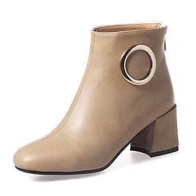 Sanmulyh Femmes Chaussures Similicuir Automne Hiver Bottes De Mode Bottes Bootie Chunky Talon Chaussures À Bout Carré Amande