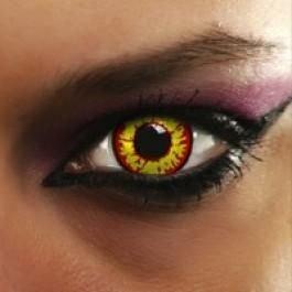 (Eye-Effect Farbige Kontaktlinsen Halloween crazy farbig darth maul Wolf Vampir mit Kontaktlinsenbehälter, rot/gelb/0 Dioptrien, 2 Stück)