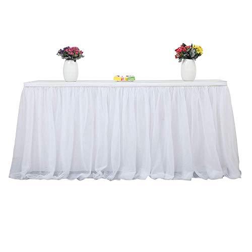 AOOPOO Tabelle Rock Tuch Weiß, Table Rock Tüll Für Hochzeit, Geburtstag, Baby Shower Party Runde Quadratische Tisch Dekorieren Home Dekoration 183 X 77cm (Weiß) (Rock Runder Tisch)