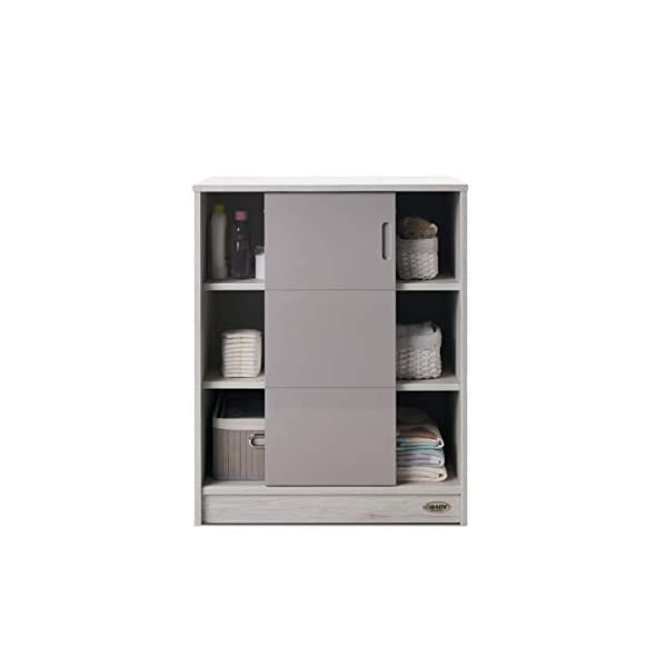 Obaby Madrid Storage Unit, Lunar Obaby Left side offers the option of a hanging rail and shelf or three shelves Right side has 3 fixed shelves Option to add the removable changing top to turn into a changing unit 5