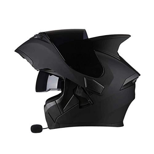 OUTO Helm Helm Motorrad Bluetooth Headset schwarz Anti-Nebel-Spiegel Full Face Helm Devil Winkel Multifunktions (Farbe : Sub-Black, größe : XXXL) (Full Helm Black Motorrad Face)