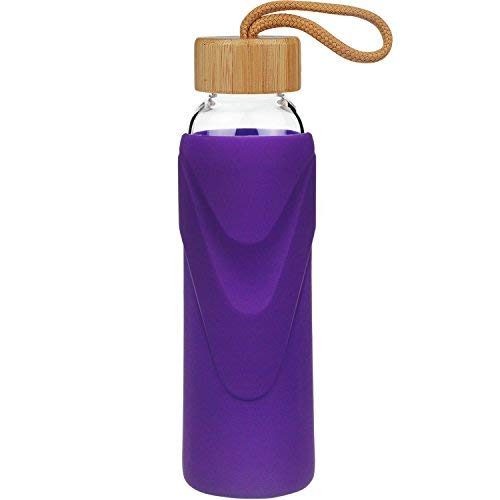 FCSDETAIL Sport Borosilikat Trinkflasche Glas Wasserflasche mit Silikonhülle mit Bambusdeckel 660ml