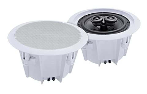 e-audio 2-Way Round Ceiling Speakers With Twin Offset