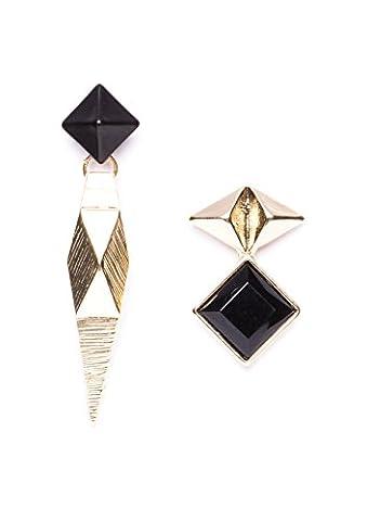 Happiness Boutique Femmes Boucles d'Oreilles Asymétriques en Noire en Blanche | Boucles d'Oreilles Triangles avec Design Géométrique sans