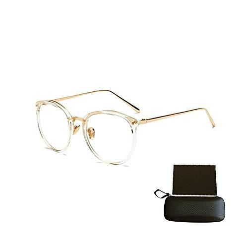 Shuxinmd Stilvoller Brillenrahmen Nerd Brille Retro Runde Unisex Dekorative Brille Klassische Mode Damen/Herren Eyewear Vielzahl von Stilen (Color : Transparent)