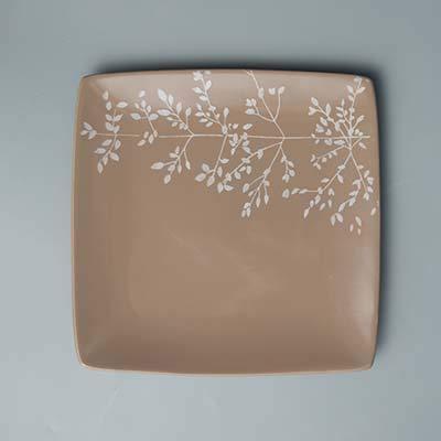 CXQ-Dining plate Assiette à dîner carrée pour Assiettes en Porcelaine, D 21,5 * 2 cm