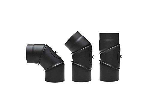 Tubo della stufa arco 130mm 90° regolabile nero con porta al ginocchio ginocchio arco