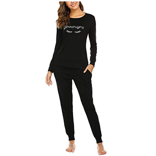 ➤Refill➤ Damen Schlafanzug -Damen Pyjama Schlafanzug Lang Zweiteilige Nachtwäsche Hausanzug Sleepwear aus Baumwolle Langarm Rundhals mit Einfarbig Hose