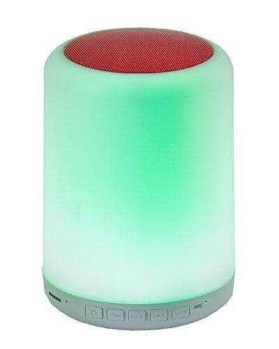 LED-Highlights Deko Kinder Lampe Touch Leuchte 9,3 x 14,5 cm Bluetooth Lautsprecher 5 W Nachtlicht Akku kabellos Farbwechsel bunt Rgb Licht dimmbar Stimmungslicht Tischlampe rund Fernbedienung (Rot) Farbe Wireless-wand-uhr