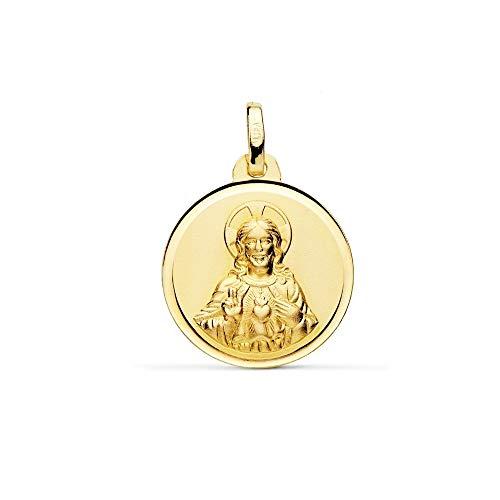 Medalla Oro 18K Escapulario 18mm. Virgen Del Carmen Corazón De Jesús Bisel