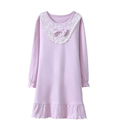 Nachthemden Mädchen Nachthemd Spitze Bowknot Nachthemd Baumwolle für 4-8 Jahre
