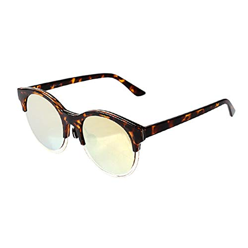 Yuany Sonnenbrille Goggle Driving Glasses MS Round Face Halbrand Classic Retro Polarized Light Sonnenschutz Anti-UVA Anti-UV 100% (Farbe: Bean Color)