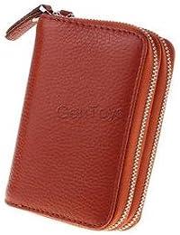 Alcoa Prime Leather Unisex Credit Card Holder Zipper Wallet Business Cards Case Purse - B0749QX26N
