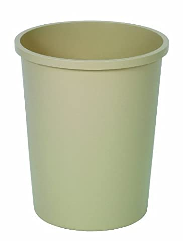 Continental 4438BE, Beige Plastic Co-mmercial Round Wastebasket, 44-3/8 quart Capacity, 16
