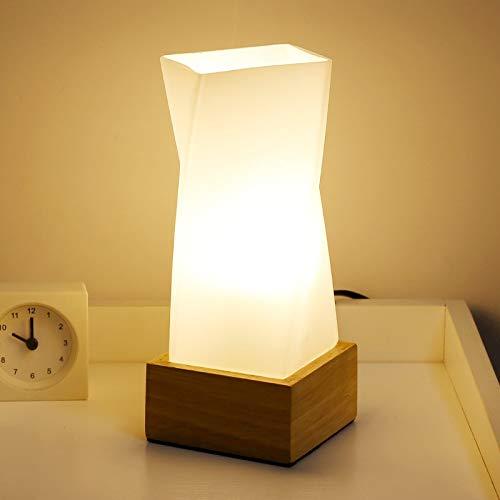 Einfache Blume Desktop Lampe Massivholz Basis Glas Lampenschirm Restaurant Tisch Nachtlicht Nachttischlampe Weiß -