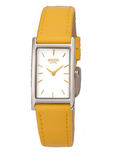 Boccia Damen Analog Quarz Uhr mit Leder Armband 3304-05